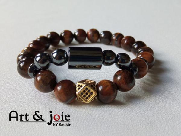Image de Bracelet en pierre œil de tigre , hematite noir et motif Swarovski doré